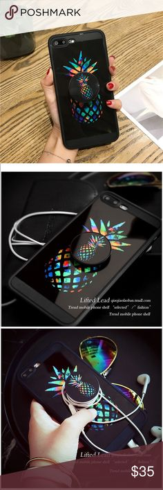 So Pineapple  Splash Iphone 7 with Pop Socket 2018 design styles Must have 2018 New Arrival  Black w color splash pineapple graphics  iPhone 7 case Phone holder Earphones holder H.O.P. Accessories Phone Cases #iphone7case,