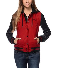 Be the head of your class and join the Obey team in the Obey Varsity Red and Black varsity jacket for girls. Built with a solid Red wool body and contrasting Black faux leather sleeves, this varsity style jacket features a Black built in zip up hoodie, a
