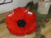 Teller Schale Mohn poppy coquelicot Keramik Blume