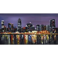 Design Art Montreal At Night, 32 inch x 16 inch, Multicolor