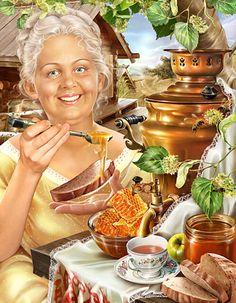 живопись,Инна Кузубова,Липовый мёд,самовар,самовар в живописи.