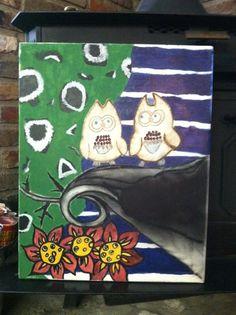 2 insane owls by BeansAndJeremy on Etsy, $50.00
