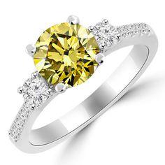 347c91e5e60  yellowdiamond  engagementring  fancy  3stone  bridalring  love  engagement   fancydiamonds