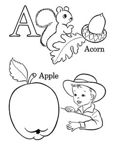 Vintage alphabet coloring sheets, adorable!! This site has tons of really cute coloring pages for free- dot to dots, Bible stories, some paper dolls, educational, etc.