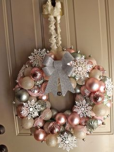 pink and gold christmas wreathsItems similar to Vintage / Retro Inspired Christmas Ornament Wreath on EtsyAre you ready to set your decor according to our tips so you can have a mid-century Christmas?Searching for vintage ornament vectors or snapshot Christmas Ornament Wreath, Xmas Wreaths, Snowflake Wreath, Gold Wreath, White Snowflake, Snowflakes, Rose Gold Christmas Tree, Christmas Crafts, 1950s Christmas