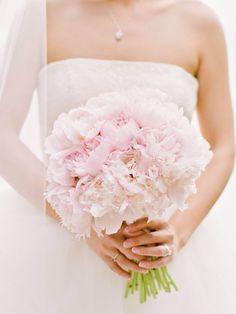 Blush pink bridal bouquet of peonies