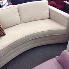 Cream Coloured Loveseat - Matches the's the 3 seat sofa we have.   Nailhead trim with a nice contemporary design.  Item 922-33. Price $500.00   - http://takeitorleaveit.co/2015/08/06/cream-coloured-loveseat/