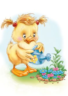 Watering the flowers Illustration Noel, Illustrations, Graphic Illustration, Easter Pictures, Bird Pictures, Cute Pictures, Chicken Painting, Cute Cartoon Characters, Christmas Embroidery Patterns