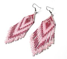 Long Native American Style Pale Pink Seed Bead by Anabel27shop, $20.00