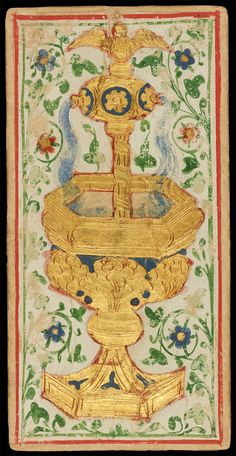 The Ace of Cups | Bonifacio Bembo for Visconti-Sforza Family | Medieval Tarot Cards | ca. 1450 | card no. 24 | The Morgan Library & Museum