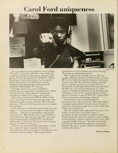 Spectrum Green yearbook, 1976. Carol Ford was the producer of WOUB's Black Directions and a disc jockey at the station.  :: Ohio University Archives