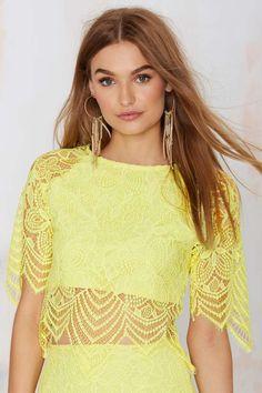 For Love & Lemons Luna Lace Crop Top