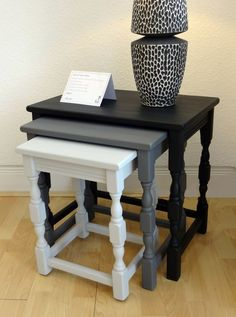 Nest of tables Dinning room this design , colour may match the rest of the furniture Refurbished Furniture, Paint Furniture, Repurposed Furniture, Shabby Chic Furniture, Furniture Projects, Furniture Makeover, Furniture Design, Painted Nesting Tables, Nesting Boxes