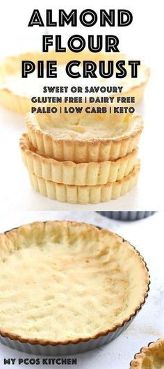 [ Low Carb Keto Almond Flour Pie Crust My PCOS Kitchen A delicious gluten free pie crust that can also be made dairy free and paleo. For quiche The post Almond Flour Pie Crust appeared first on Keto Recipes. Low Carb Desserts, Gluten Free Desserts, Dairy Free Recipes, Low Carb Recipes, Dessert Recipes, Gf Recipes, Dessert Ideas, Easy Recipes, Snack Recipes