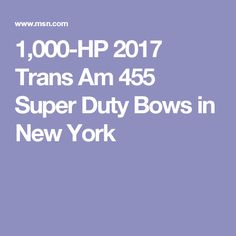 1,000-HP 2017 Trans Am 455 Super Duty Bows in New York New York, Bows, New York City, Bowties, Bow, Nyc, Ribbon, Arches