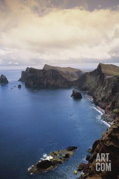 Portugal, Madeira, Ponta De Sao Lourenco. Cliff Along Sea Photographic Print by Walter Bibikow at Art.com