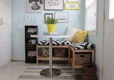 Ikea Molgar benches || $39.99 || create breakfast nook area + add storage space