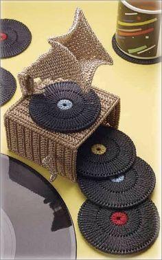 Record player coasters plastic canvas