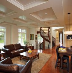 Inverse coffered for low ceiling. Altadore Manor - traditional - living room - calgary - Stephens Fine Homes Ltd Floor Design, Ceiling Design, House Design, Ceiling Detail, Mansion Kitchen, Living Room Lounge, Living Rooms, Living Spaces, Classic Furniture