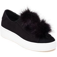 STEVE MADDEN Bryanne Black Pom Pom Sneaker (€75) ❤ liked on Polyvore featuring shoes, sneakers, black suede, stretch sneakers, black sneakers, steve madden, platform trainers and rubber sole shoes