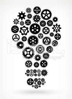 Light Bulb on Black royalty free vector Gears royalty-free stock vector art