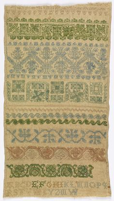 """Ten cross borders (geometric and floral designs) with alphabet and initials """"M.W.""""    This sampler is medium: silk embroidery on linen technique: cross, double running and knot stitches on plain weave. Its dimensions are: Warp x Weft: 28 x 16 cm (11 x 6 5/16 in.).    This sampler is from United Kingdom and dated """"early 18th century""""."""