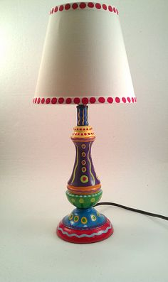 Hand Painted Lamp With Crazy Colors by LisaFrick on Etsy, $50.00-- I could totally DIY the CRAP out of a project like this. For way less than $50 to boot.