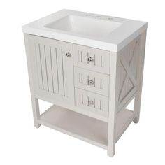 Martha Stewart Living Seal Harbor 30 in. Vanity in Sharkey Gray with Vanity Top in Alpine White-SL30P2COM-SG - The Home Depot