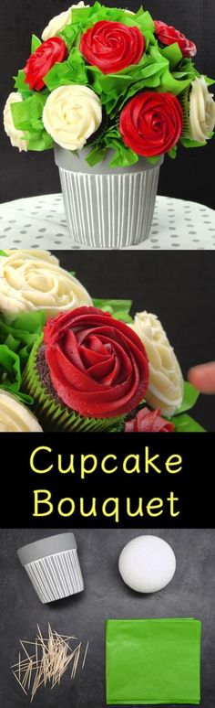 Don't buy it - make it. Cupcake Bouquets are easy to make and wonderful to receive as gifts. You get to eat the cupcakes and have a pot left over for real flowers and plants. Buquet, Rose Bouquet, Diy Bouquet, Cupcake Gift, Cupcake Cakes, Cup Cakes, Baby Cakes, Baking Cupcakes, Cupcake Ideas