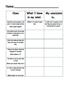 Worksheet for drawing conclusions. ...