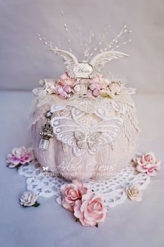 Butterfly Kisses & Paper Pretties: Altered Shabby Chic Pumpkin and tutorial!