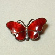 Sterling Silver Red Enamel Butterlfy Pin By Ivar T Holth/Holt... mine!! :-D