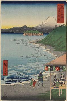 Mt Fuji from Shichirigahama Beach by Hiroshige - from the 36 Views of Mt. Fuji series (1858)
