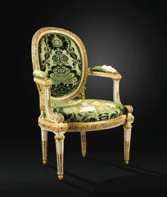 Beau fauteuil à châssis en bois laqué crème rechampi or d'époque Louis XVI, vers 1768, attribué à Louis Delanois - Sotheby's