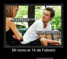 Mi novio el 14 de Febrero,   #CartelesCreativos #Desmotivaciones