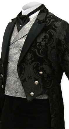 For the Groom, Regency Tailcoat - Black tapestry. I love the look with the puff-tie and pin.