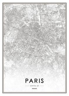 Paris, Plakat i gruppen Plakater / Kort & byer hos Desenio AB Hamburg Poster, London Poster, London Map, Wall Prints, Poster Prints, Map Posters, Buy Prints, City Map Poster, Poster Frames