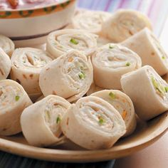 Tortilla Roll-Up Appetizers Recipes from Taste of Home, including Cheesy Onion Roll-Ups food Finger Food Appetizers, Yummy Appetizers, Appetizers For Party, Appetizer Recipes, Snack Recipes, Cooking Recipes, Appetizer Dishes, Cooking Tips, Think Food