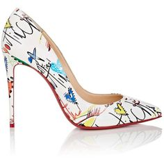 Christian Louboutin Women's Pigalle Follies Patent Leather Pumps ($725) ❤ liked on Polyvore featuring shoes, pumps, louboutin, white, multi colored pumps, high heel stilettos, white high heel pumps, white high heel shoes and white slip on shoes