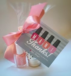 "These ""mini manicures"" make such a cute teacher gift or bridal/baby shower favor. Pick your favorite nail polish and hand lotion and then just add my free printable gift tag!"