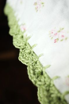 Crochet edging on a pillowcase.  Pretty.  Also included instructions on how to make the pillowcase.