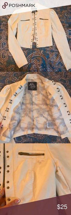 G by Guess Pleather White Hook Jacket Used a few times, in good condition. Somehow on a few spots of the jacket the inside bled through as shown in picture 3. Price reflects spots. Hooks down all from the inside shown in picture 2. G by Guess Jackets & Coats Utility Jackets
