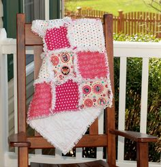 Baby Rag QuiltAdornIt Owl  Completed and Ready to by RedEyedStudio