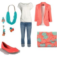 Coral and Turquoise  The perfect spring weekend outfit!