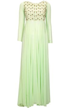 Mint green embroidered floor length jacket  by Prathyusha Garimella. Shop at: http://www.perniaspopupshop.com/designers/prathyusha-garimella #jacket #prathyushagarimella #shopnow #perniaspopupshop
