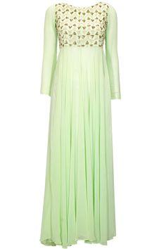 Mint green embroidered floor length jacket  by Prathyusha Garimella. Shop at: http://www.perniaspopupshop.com/designers/prathyusha-garimella #jacket #prathyushagarimella #shopnow #perniaspopupshop