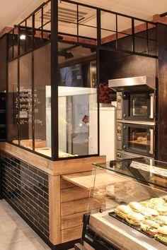 Green Kitchen: Designs, Models and Photos with Color! Bakery Shop Interior, Bakery Shop Design, Coffee Shop Interior Design, Coffee Shop Design, Cafe Design, Design Design, Pizzeria Design, Small Restaurant Design, Deco Restaurant