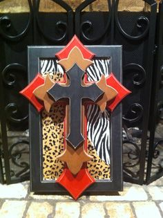 Stacked Crosses on panel with zebra and leopard background. $40.00, via Etsy.
