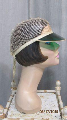 "Vintage 1930s Snood Hat Mesh Net Cap with Green Plastic Visor ""Venida…"