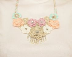 Bip necklace statement necklace OOAK necklace crochet by SenasShop